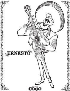 Dibujo de Ernesto de la Cruz coco plantilla para dibujar y colorear