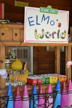 Elmo's World Snack Bar for 1st birthday party.