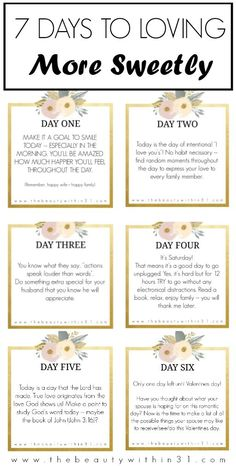 Seven days to loving more sweetly this Valentines Day -- seven tasks, seven days, guaranteed sweetness! My Funny Valentine, Valentines, Marriage Relationship, Good Marriage, Relationships, Encouragement Quotes, Faith Quotes, Live Love, Love You