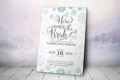 Printable Bridal Shower Invitation - Winter Bridal Shower Invitation (3 colors - 02) on Etsy, $16.00