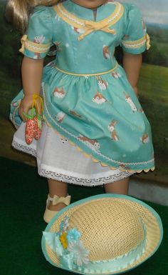 Aqua Easter Bunny Print Dress with Hat by SugarloafDollClothes