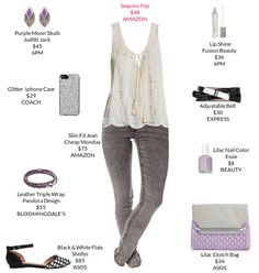 Comfy cute in neutral grays and lavender.  @amazon @asos @expresslife #sequinstop #flats #clutch