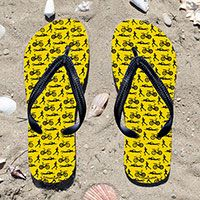 Triathlon Swim Bike Run Pattern on Yellow Flip Flops - Kick back after a triathlon with these great flip flops! Fun and functional flip flops for all triathletes.