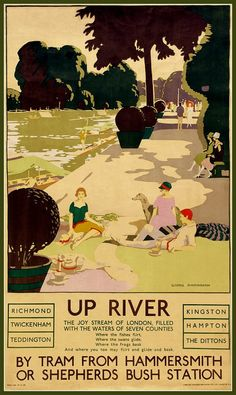 London Underground Upriver 1920s Poster Print by BloominLuvly