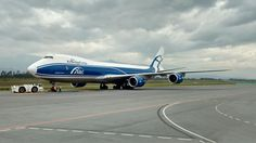 Air Bridge Cargo Boeing 748F freighter getting ready for taxi at QuitoAirport
