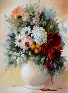 Paintings, Flower Paintings, colorful painting, Bouquet Paintings, Hungarian Artist, Hungarian Painter, Oil paintings, Szechenyi Szidonia