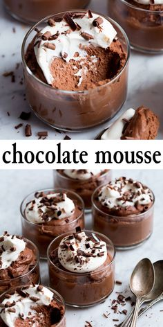 The best Chocolate Mousse! Decadently creamy, light and billowy, and indulgently chocolaty. This recipe is a staple for chocolate lovers everywhere! Mini Desserts, Easy Desserts, Delicious Desserts, Yummy Food, Birthday Desserts, Pudding Desserts, Health Desserts, Bon Dessert, Dessert Cups