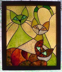 Stained Glass Panel - Three Cats #StainedGlassArt