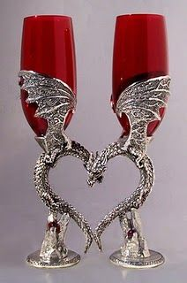 Red glass dragon heart glasses