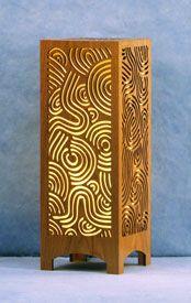 Decorative Wood Table Lamp: Deco Swirls