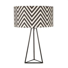 Black Black zig zag patterned lamp- at Debenhams Mobile Monochrome Interior, Black And White Interior, Living Room Inspiration, Interior Inspiration, Table Lamp Shades, Table Lamps, White Lamp Shade, Purple Rooms, I Love Lamp