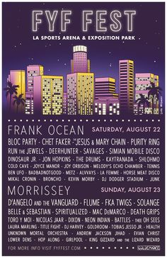 Frank Ocean, Morrissey, D'Angelo, the Jesus and Mary Chain, Death Grips, Run the Jewels, Mac DeMarco to Play FYF Fest 2015.