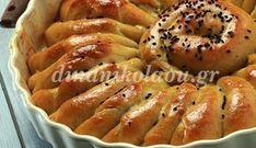 30΄ 40΄ – 45΄ για 1 ταψί 28 εκ. Εντυπωσιακό σχέδιο, λαχταριστή γέμιση και αφράτη ζύμη. Τι άλλο μπορεί να έχει μια τέλεια πίτα; Υλικά Εκτέλεση Για τη ζύμη 25 γρ. νωπή μαγιά (θα τη βρείτ… Pita Recipes, Greek Recipes, Greek Pita, Bread And Pastries, Hot Dog Buns, Bagel, Tart, Food To Make, Brunch