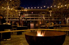 cool outdoor space... the outdoor fire pit at Frankford Hall in Philly (Credit: T. Scheid for GPTMC)