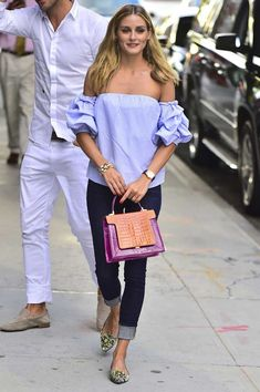Olivia Palermo domina la tendencia 'off shoulder' - Marie Claire Olivia Palermo Outfit, Style Olivia Palermo, Olivia Palermo Lookbook, Fashion Mode, Look Fashion, Girl Fashion, Fashion Tips, Milan Fashion, Fashion Weeks