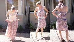Recycled Fashion: Vintage skirt to halterneck dress