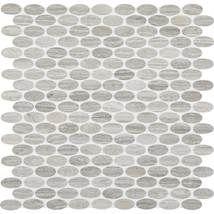 Daltile Stone Mosaics Chenille White 1 1/2 x 5/8 Oval Mosaic Polished L191