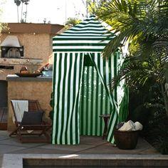 Apontus Striped Shower Changing Cabana Tent Patio Beach Pool Green White