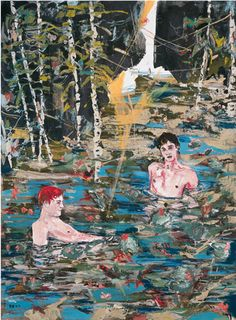 peter doig or Herman bas? Peter Doig, Figure Painting, Painting & Drawing, Pond Painting, Kunst Portfolio, Art In Miami, Figurative Kunst, Small Canvas Art, Queer Art