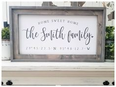 Wood Last name sign Wood Family name sign Custom wood Home sweet home sign Personalized Wedding gift Established sign Housewarming gift Family Wood Signs, Family Name Signs, Family Names, Family Boards, Family Gifts, Diy Signs, Home Signs, Wall Signs, Window Signs