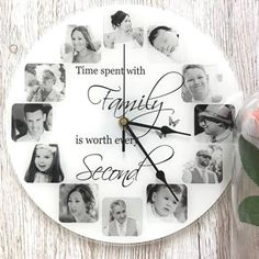 """Time spent with. Personalise this clock with 12 photos, text colour and background colour can be changed, the text """"family"""" can be changed Photo Wall Clocks, Photo Clock, Wall Clock With Pictures, Family Clock, 7 Year Anniversary Gift, Explosion Box Tutorial, Personalized Clocks, Baby Frame, Candle Packaging"""