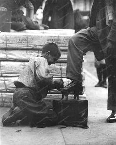 Bootblack Shoeshine Boy At Work Vintage 8x10 Reprint Of Old Photo