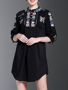 Buy it now. Black Butterfly Embroidered Shift Dress. Black Round Neck Half Sleeve Polyester Shift Short Embroidery Fabric has no stretch Summer Casual Day Dresses. , vestidoinformal, casual, camiseta, playeros, informales, túnica, estilocamiseta, camisola, vestidodealgodón, vestidosdealgodón, verano, informal, playa, playero, capa, capas, vestidobabydoll, camisole, túnica, shift, pleat, pleated, drape, t-shape, daisy, foldedshoulder, summer, loosefit, tunictop, swing, day, offtheshoulder,...