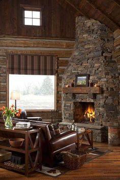 Acogedor refugio de cabaña rústica con un telón de - Decoración de Estilo Rústico Cabin Fireplace, Rustic Fireplaces, Fireplace Design, Small Fireplace, Rustic Home Interiors, Cozy Cabin, Rustic Elegance, Design Case, Log Homes