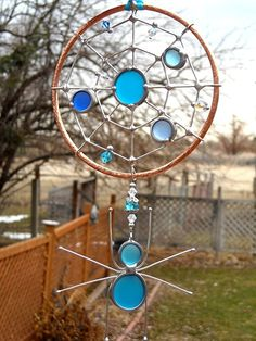 Stained Glass and Copper Spider's Web Suncatcher