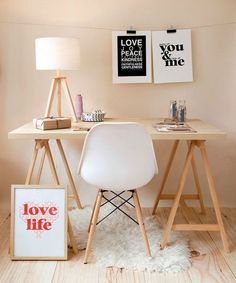 Saw Horse Desk · Modern Home Office Inspiration · Workspace Design · Creative Studio · Artist Desk Home Office Design, Home Office Decor, House Design, Office Ideas, Cozy Office, White Office, Workspace Inspiration, Interior Inspiration, Design Inspiration