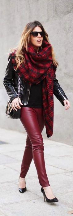 Shop this look on Lookastic:  http://lookastic.com/women/looks/sunglasses-scarf-biker-jacket-crossbody-bag-long-sleeve-t-shirt-leggings-pumps/4955  — Dark Brown Sunglasses  — Red Plaid Scarf  — Black Leather Biker Jacket  — Black Leather Crossbody Bag  — Black Long Sleeve T-shirt  — Burgundy Leather Leggings  — Black Leather Pumps