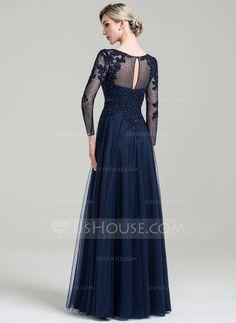 Vestidos princesa/ Formato A Decote redondo Longos Tule Vestido de festa com Beading lantejoulas (017092354)