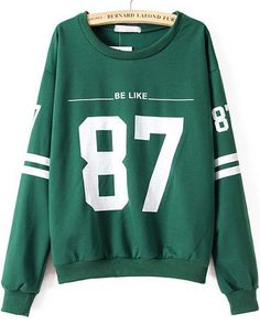 Shop Green Long Sleeve 87 Print Loose Sweatshirt online. Sheinside offers Green Long Sleeve 87 Print Loose Sweatshirt & more to fit your fashionable needs. Free Shipping Worldwide!