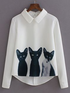 Blusa solapa manga larga gatos -blanco 13.32