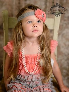 FLOWER GIRL?? Duo Shabby Coral and Grey Lace Baby Girls by HappyBOWtique on Etsy, $10.99