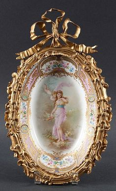 """Collott,"""" porcelain with central scene of Venus and Cupid and parcel-gilt floral border, Sevres type mark underneath, scroll-form ormolu mounts with large bow, 16 in. Fine Porcelain, Porcelain Ceramics, Painted Porcelain, Porcelain Tile, Miniature Portraits, China Painting, Floral Border, Objet D'art, Antique China"""