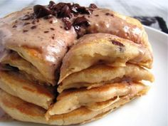 Chocolate Chip Cookie Dough Glazed Pancakes for One by Healthy Food For Living