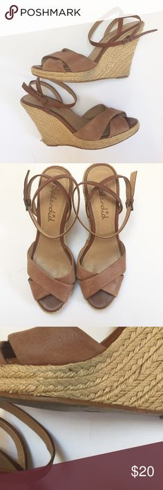 """Splendid Benton Espadrille Wedges Gently worn Splendid Benton espadrille wedge sandals with brown leather uppers. Buckled ankle strap. Very comfortable! Signs of wear to raffia and sole, slight wear of leather on toes. 4.5"""" wedge, 1"""" platform. Size 9, TTS. Splendid Shoes Sandals"""