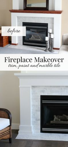 Our fireplace makeover is officially done! Find out how we used inexpensive trim, white paint and marble subway tile to give it a fresh new look. fireplace makeover White & Marble Fireplace (The Makeover Details) Subway Tile Fireplace, Tile Around Fireplace, Fireplace Trim, Fireplace Tile Surround, Marble Subway Tiles, Fireplace Update, Marble Fireplaces, Fireplace Remodel, Fireplace Surrounds