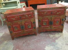 SOLD Vintage antique pair of #Chinese hand-painted side tables  #sidetables  SOLD