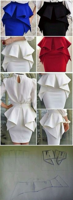 The Perfect Peplum Dress in White. Diy Clothing, Sewing Clothes, Clothing Patterns, Dress Patterns, Sewing Patterns, Fashion Sewing, Diy Fashion, Fashion News, Diy Vetement