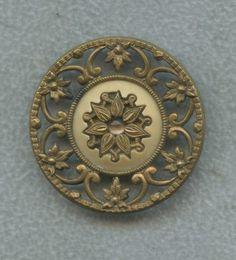 Antique Button 1800's Openwork Metal w Celluloid Center
