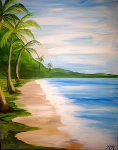 Beach and palm tree painting, Wine & Canvas