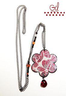 necklace necklaces pendant heart Flower pendant paper wood chain crystals flowers Gil bottega italia collana collane ciondolo cuore ciondolo a fiore carta legno catena cristalli fiori