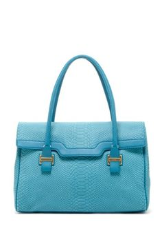 turquoise leather satchel