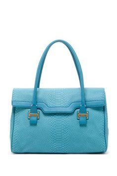 turquoise leather satchel
