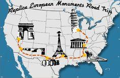 The Texas Eiffel Tower, Nashville Parthenon, and Arizona London Bridge? Pose with Europe's most iconic landmarks without flying overseas.