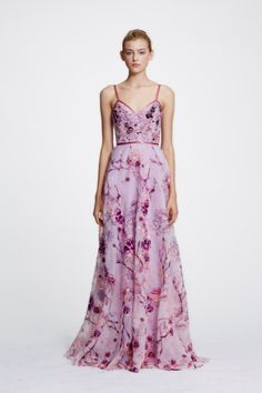 32fd560c Marchesa Notte Sleeveless Floral Organza Evening Gown N29G0845