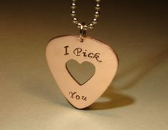 Copper I pick you guitar pick pendant with heart by NiciLaskin