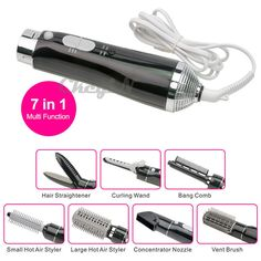 7 in 1 Hair dryer Hot Air Styler Concentrator Nozzle Curling Hair Styling Curler #Ckeyin